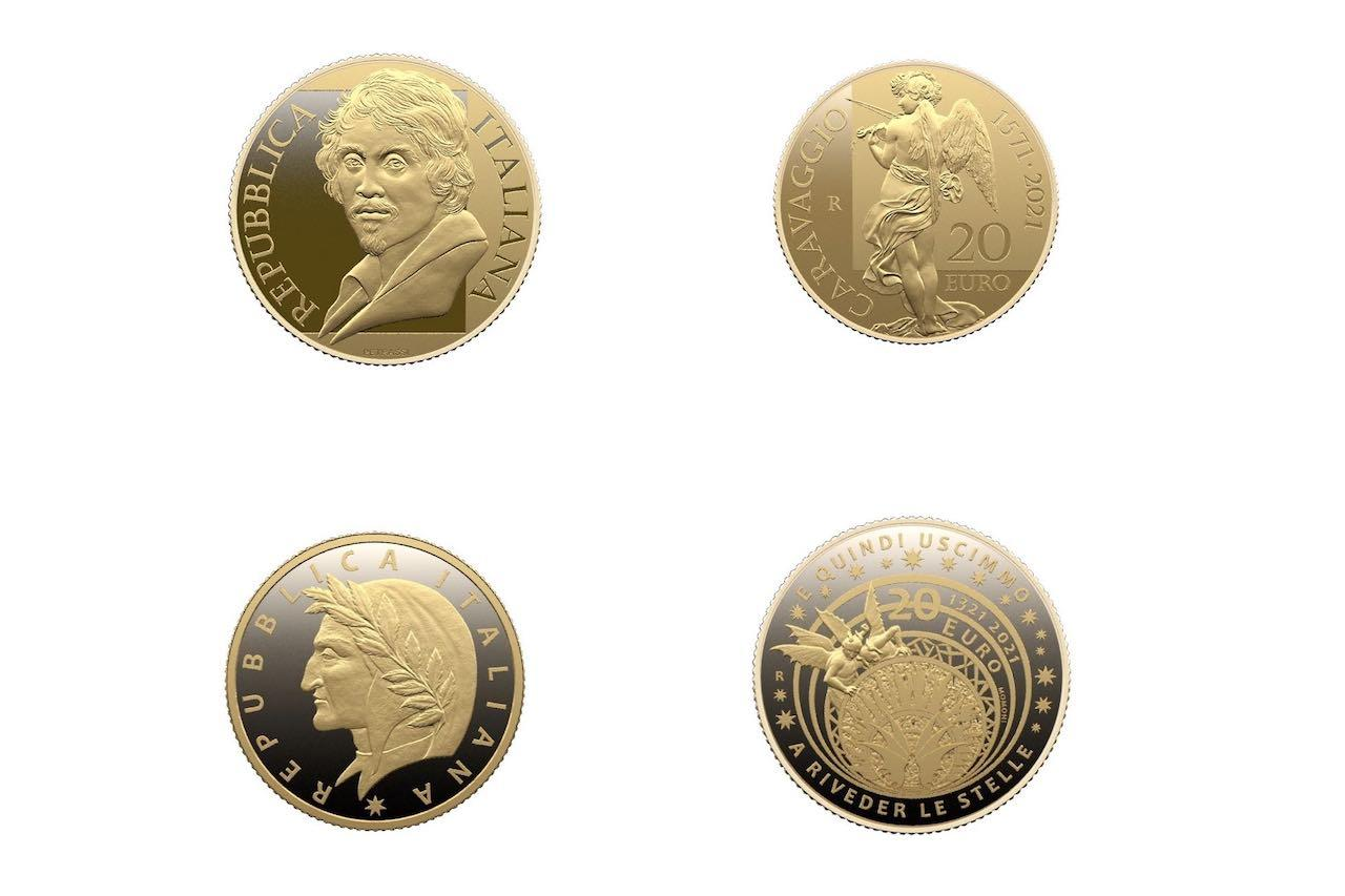 Euro, le monete dedicate agli anniversari di Caravaggio e Dante