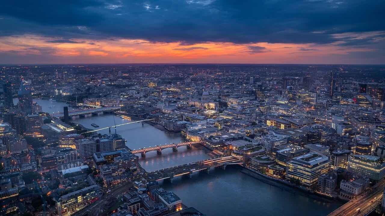 Export Made in Italy, la città di Londra vista dall'alto