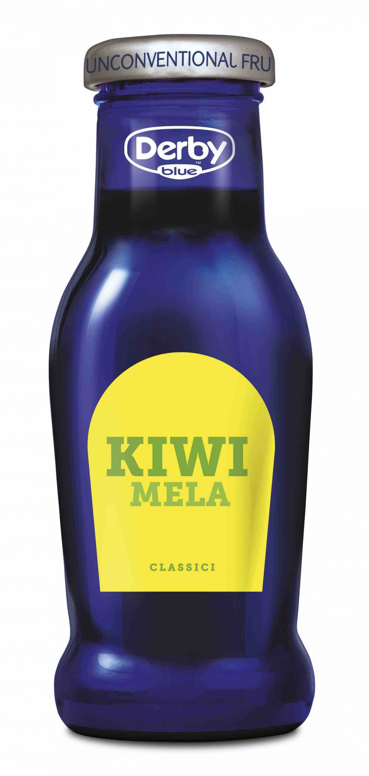 Derby Blu Kiwi Mela, la bottiglia in vetro in primo piano