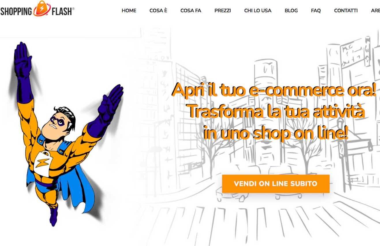 Shopping Flash, l'home page del sito ufficiale